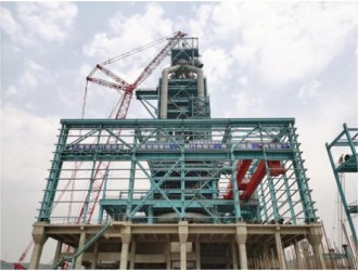 沪企承建泰安特种建筑用钢高炉项目 二号高炉钢结构顺利封顶